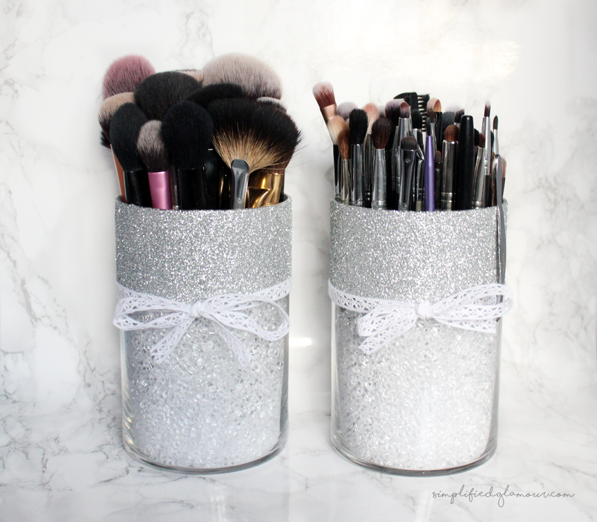 DIY Glitter Brush Holder